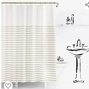 NWT Kate Spade Harbour Stripe Beige Shower Curtain